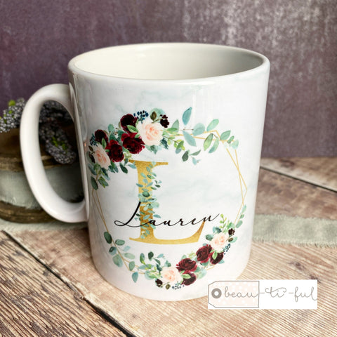 Personalised Name and Initial Mug with Burgundy Floral Botanical
