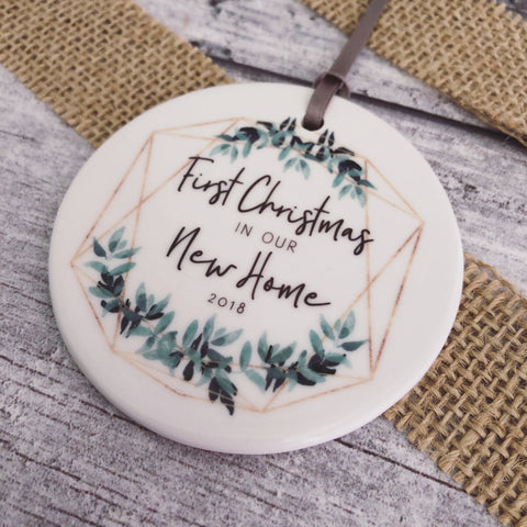 Personalised First Christmas in our New Home Botanical Round Ceramic Tree Hanger Decoration Ornament