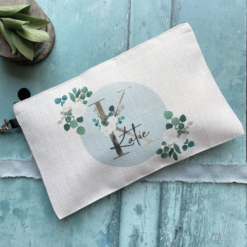 Personalised Name and Initial.. Floral Greenery Design Linen Style Make Up Bag