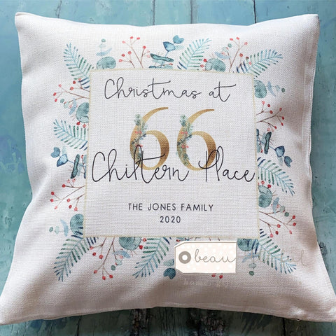 Personalised Christmas at... New Home Family Monogram Greenery  Cushion