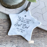 Personalised I'm so lucky... Best Dad Grandad Gramps Father's Day Marble Style Star Keepsake