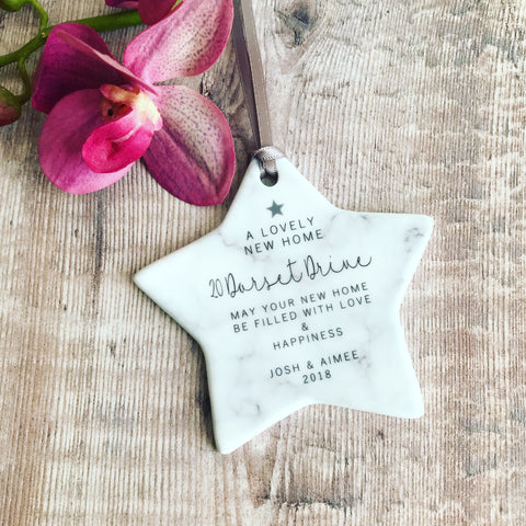 Personalised New Home Marble Style Ceramic Star Keepsake