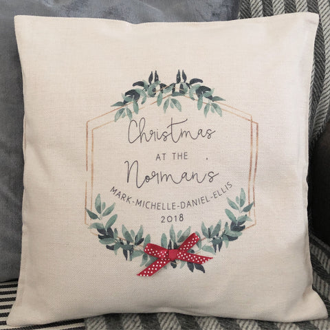 Personalised Christmas at the....Family Botanical Linen Style Cushion