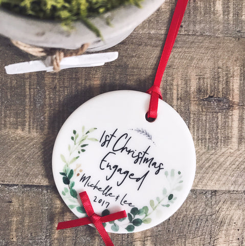 First Christmas Engaged Botanical Round Ceramic Tree Hanger Decoration Ornament