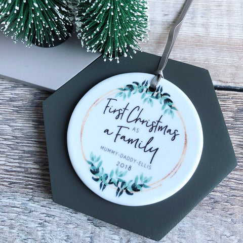 Personalised First Christmas as a Family Botanical Round Ceramic Tree Hanger Decoration Ornament