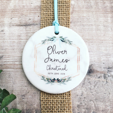 Personalised Christening Botanical Round Ceramic Keepsake
