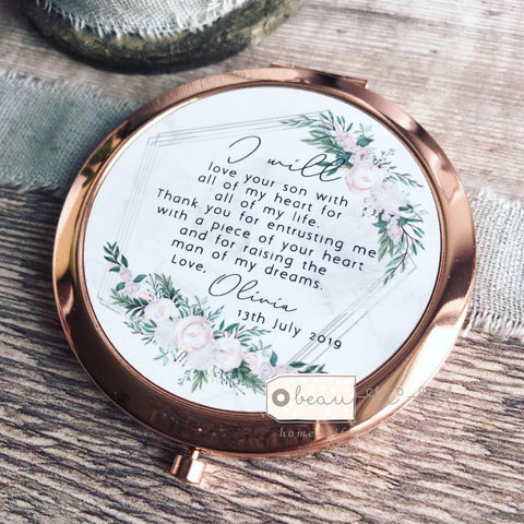 Personalised Mother of Groom Bride Thank you from Bride Groom Quote Floral Rose Gold Compact Mirror