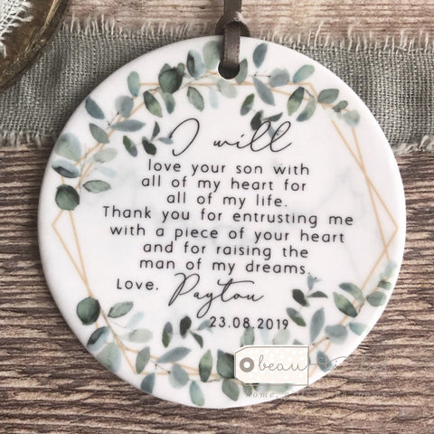 Personalised Mother of Groom Bride Thank you.. Quote Greenery Ceramic Keepsake