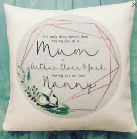 Personalised The only thing better than... Mum Botanical Design Home Quote Linen Style Cushion