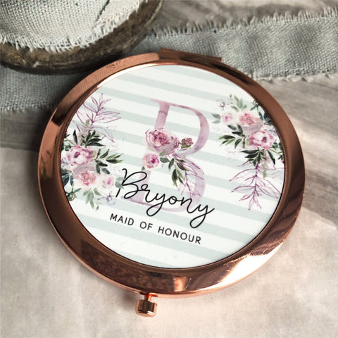 Personalised Initial and Name Floral  Rose Gold Compact Mirror