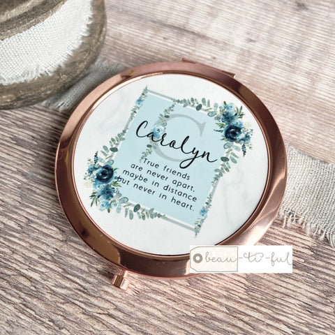Personalised Initial and Name True Friends...Quote Dusky Blue Floral Greenery Compact Mirror
