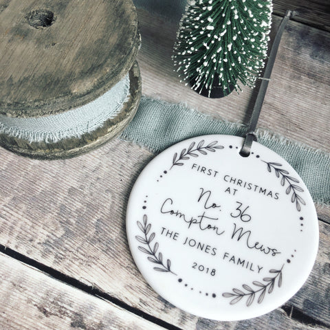 Personalised First Christmas At Address New Home Monochrome Wreath Ceramic Round Decoration Ornament Keepsake