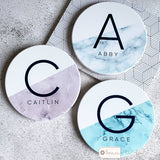 Personalised Name and Initial Marble style Ceramic Round Coaster