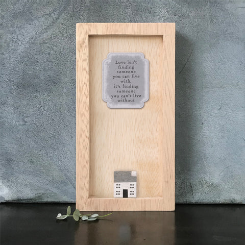 East of India Love is not finding... Quote Long Wooden Box Frame