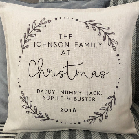 Personalised Christmas at the....Family Wreath Linen Style Cushion