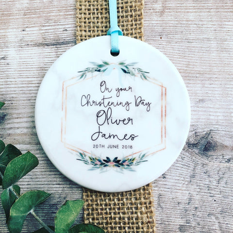 Personalised On Your Christening Botanical Round Ceramic Keepsake