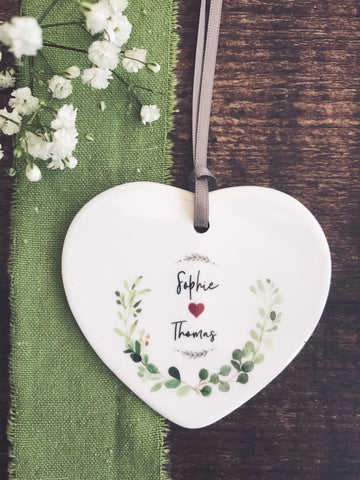Personalised Botanical Love Ceramic Heart Keepsake - Valentines Day