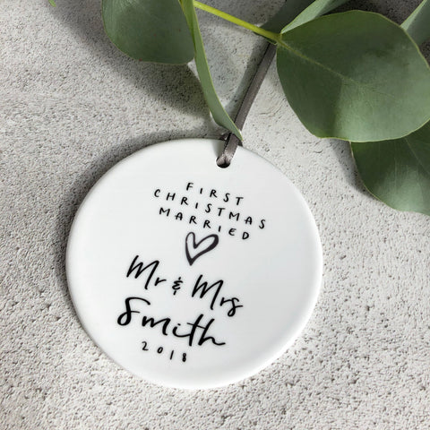 Personalised First Christmas Married Mr and Mrs Monochrome Heart Ceramic Round Decoration Ornament Keepsake