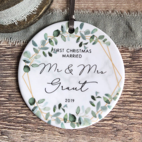 First Christmas Married Mr and Mrs Mr and Mr Mrs and Mrs Greenery Ceramic Decoration Ornament