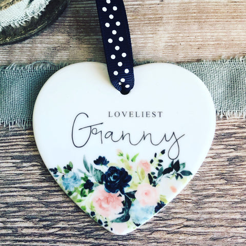 Loveliest.... Mum Grandma Sister Relative Heart Ceramic Keepsake