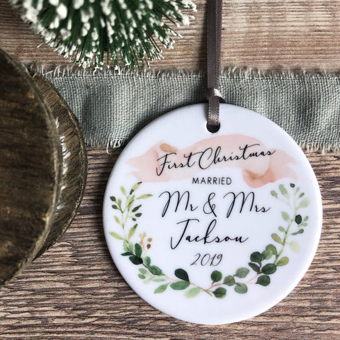 First Christmas Married as Mr Mrs Eucalyptus Banner Ceramic Ornament Keepsake Decoration