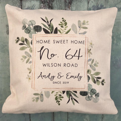Personalised Home Sweet Home Botanical Design New Home Quote Linen Style Cushion