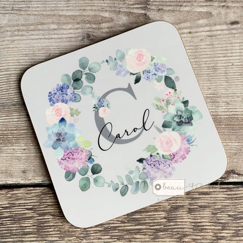 Personalised Name & Initial .. Lilac Floral Wreath Greenery Design coaster