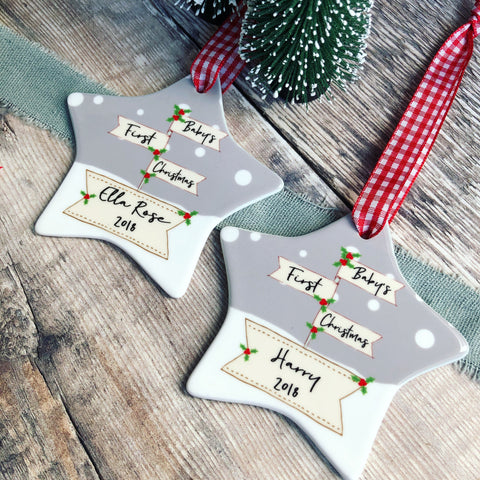 Personalised Baby's First Christmas Signpost Ceramic Star Christmas Decoration Ornament