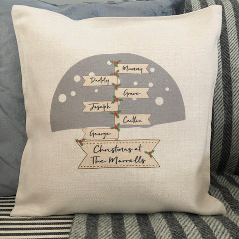 Personalised Christmas at the....Family Signpost Linen Style Cushion
