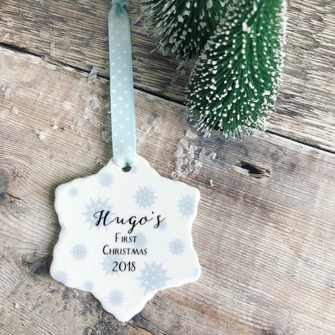 Personalised First Christmas Baby Boy Girl Snowflake Design Ceramic Snowflake