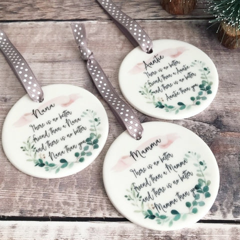 There is no better Friend than ... Botanical Round Ceramic Hanger