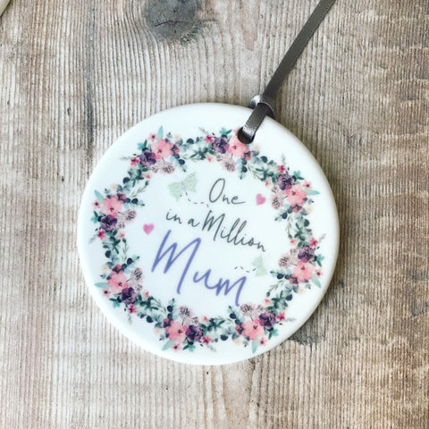 One in a Million Floral & Butterfly ... Female Round Ceramic Keepsake Hanger - Mother's Day