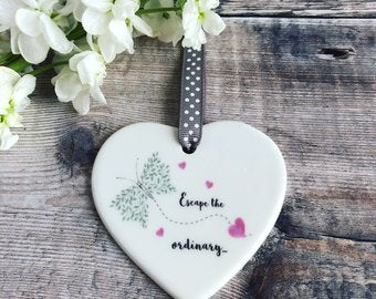 Escape the Ordinary Ceramic Heart with Heart and Butterfly