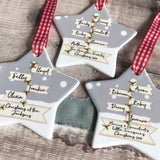 Personalised Family Christmas Signpost Ceramic Star Christmas Decoration Ornament