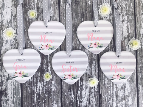 Grey Stripe Floral Detail For my.....  Female Relative Ceramic Heart