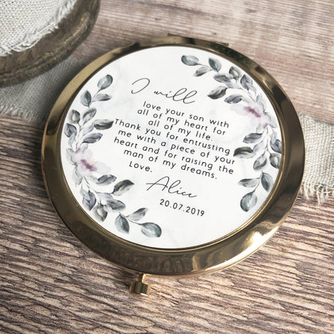 Personalised Mother of Groom Bride Thank you from Bride Groom Quote Floral Greenery Rose Gold Compact Mirror