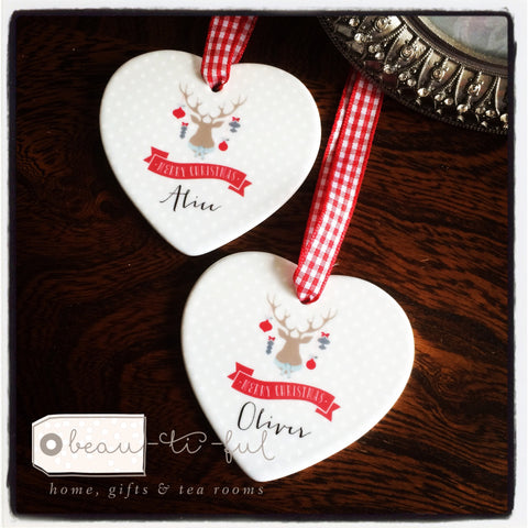 Personalised Merry Christmas Reindeer Ceramic Heart