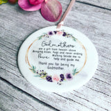 Personalised Godmother Godparents Thank you Decoration Floral....Round Ceramic ... - Keepsake Decoration - Ornament