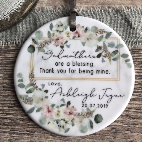 Personalised Godmother Godparents Thank you Decoration Floral Greenery Round Ceramic Keepsake