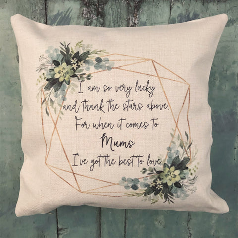 Personalised I am so very lucky Botanical Design Home Quote Linen Style Cushion