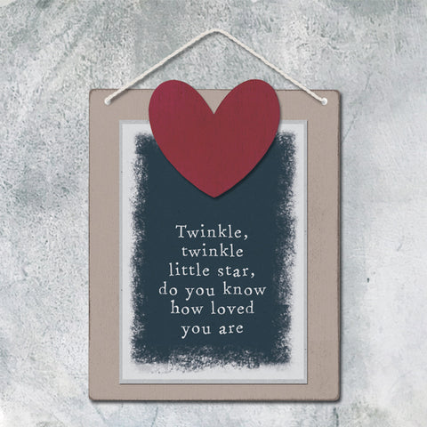 East of India Twinkle Twinkle Wooden Hanging Sign