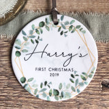 Personalised Baby's First Christmas Newborn Baby Boy Girl Geometric Greenery Ceramic Decoration Ornament