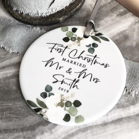 First Christmas Married Mr and Mrs Mr and Mr Mrs and Mrs Floral Botanical Round Ceramic Decoration Ornament