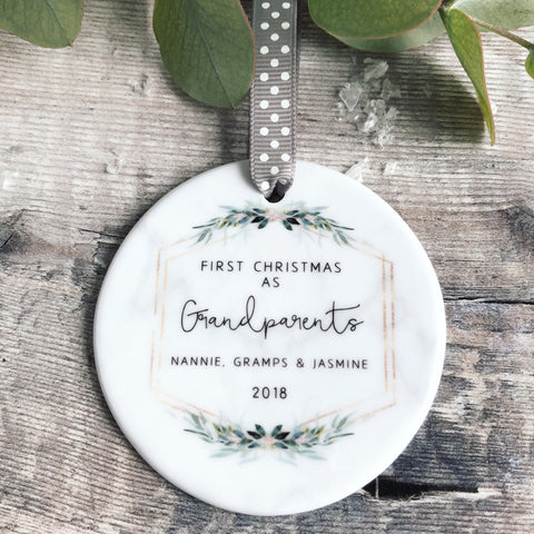 Personalised First Christmas as Grandparents Marble Style Quote Botanical Ceramic Round Decoration Ornament Keepsake
