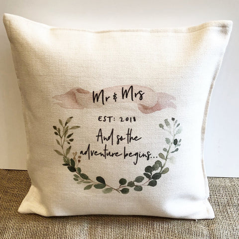 Personalised Mr & Mrs And so the Adventure Begins... Botanical Linen Style Cushion -
