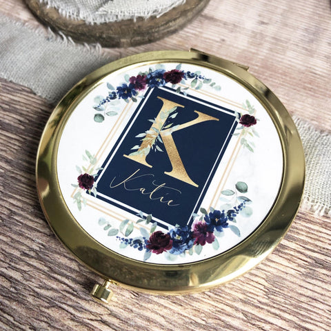 Personalised Initial and Name Navy Burgundy Floral Round Rose Gold Compact Mirror Wedding Bridesmaid Gift
