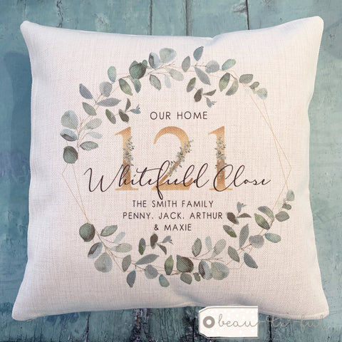 Personalised Our Home Botanical Geometric Greenery Design New Home Cushion