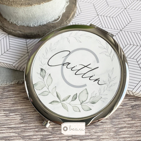 Personalised Initial and Name Marble Style Silver Compact Mirror