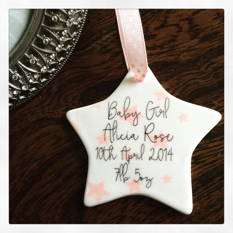 Personalised New Baby Girl Stars Ceramic Star