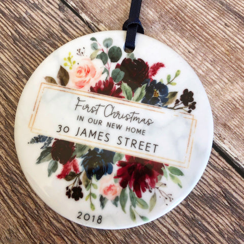 Personalised First Christmas In our new home address Burgundy Floral Ceramic Ornament ... - Keepsake Decoration